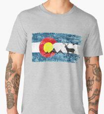 Colorado Flag. Wildlife, Mountains. Distressed, Vintage, Retro Design Men's Premium T-Shirt