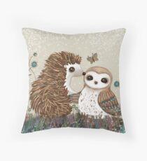 Owl and Hedgehog Throw Pillow