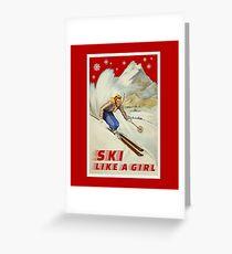 Ski like a Girl. Vintage, Retro Greeting Card