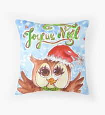 Chouette Noël - French Christmas Owl Throw Pillow