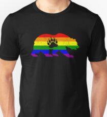 LGBT Flag Bear Paw (Distressed) - Gay Bear Pride Unisex T-Shirt