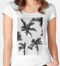 Black and white palm trees Fitted Scoop T-Shirt