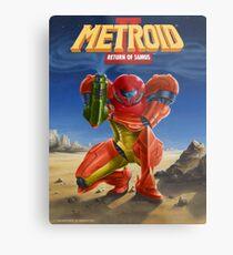 Lienzo metálico Metroid 2, The Return of Samus, arte de carteles restaurados del anuncio original de Power Nintendo