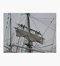 Tightening the main upper topsail Photographic Print