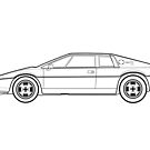 Lotus Esprit S2 Outline Drawing by RJWautographics