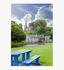 blue bench at castletownroche park Photographic Print