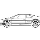 Lotus Esprit S3 Turbo Outline Drawing by RJWautographics
