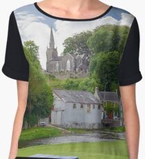 blue bench view at castletownroche park Women's Chiffon Top