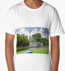 blue bench view at castletownroche park Long T-Shirt