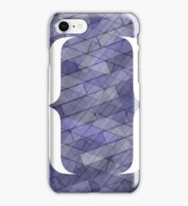Curly Bracket Icon Isolated on Blue Brick Background iPhone Case/Skin