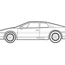 Lotus Esprit Turbo SE Outline Drawing by RJWautographics