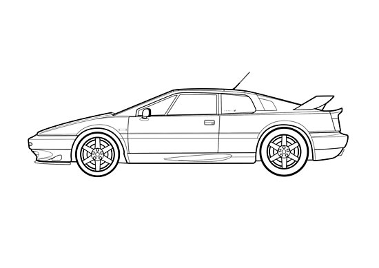 Lotus Esprit S4 V8 Outline Drawing Posters By Rjwautographics