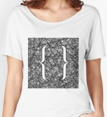 Curly Bracket Icon on Ink Grunge Background Women's Relaxed Fit T-Shirt