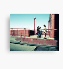 Tourists on the Golden Gate bridge Canvas Print