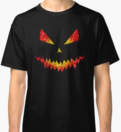 Sparkly Jack O'Lantern face Halloween pattern Classic T-Shirt