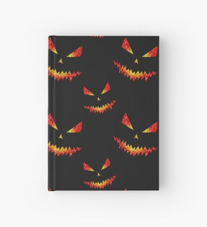 Sparkly Jack O'Lantern face Halloween pattern Hardcover Journal