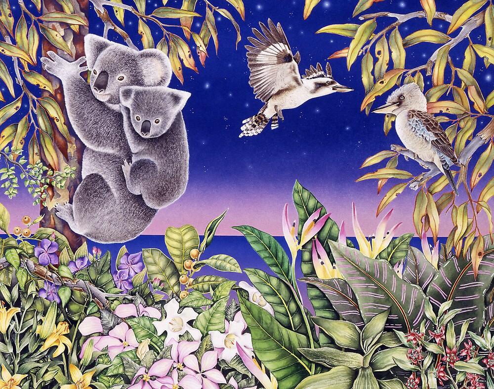 Australian Koalas and Kookaburras by joeyartist