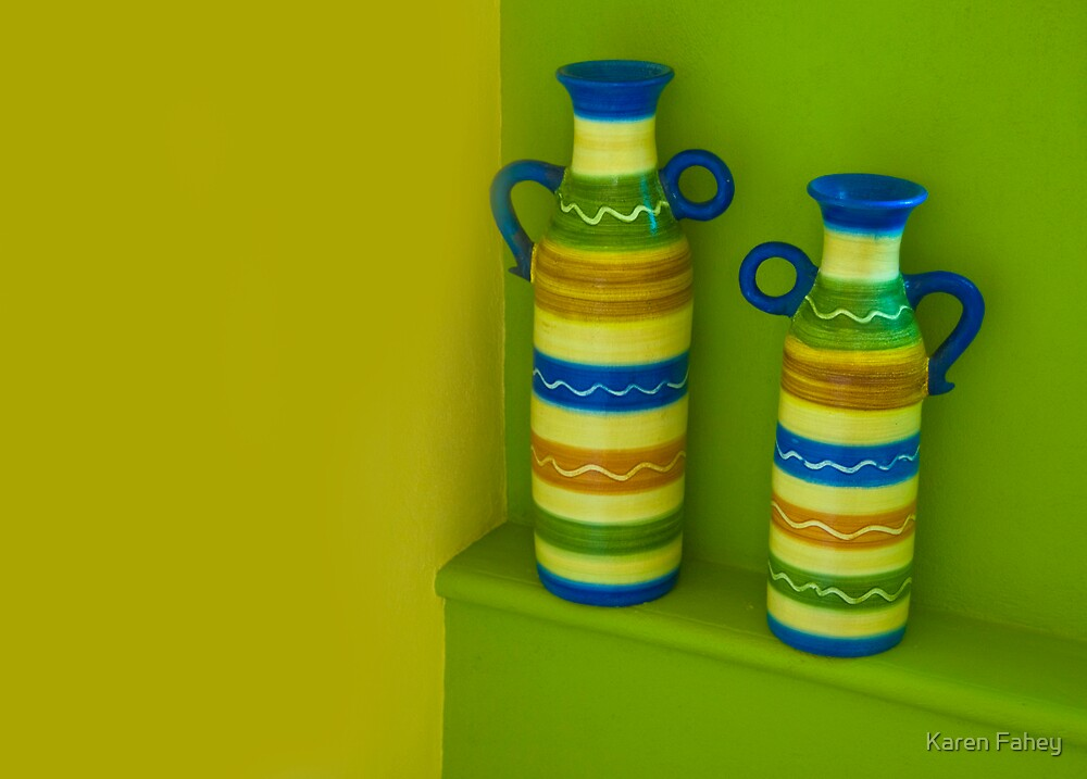 Pottery on Staircase. by Karen Fahey