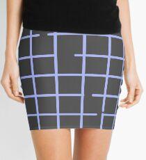 Broken Grid Blue Mini Skirt