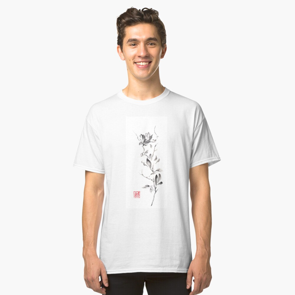 Magnolia scroll sumi-e painting Classic T-Shirt Front