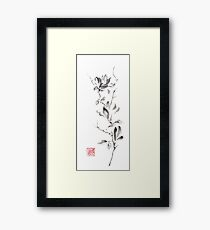 Magnolia scroll sumi-e painting Framed Print
