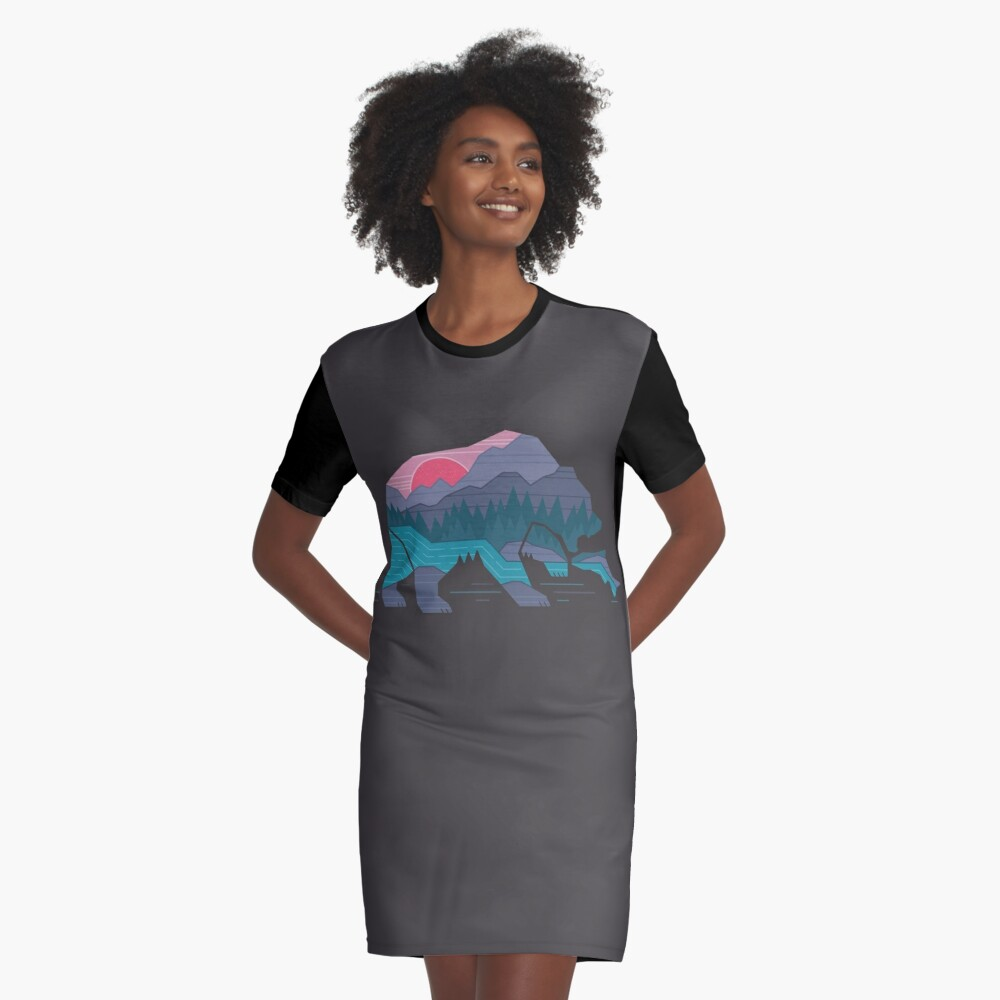 Bear Country Graphic T-Shirt Dress