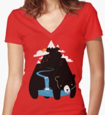 The Mountain Bear Women's Fitted V-Neck T-Shirt