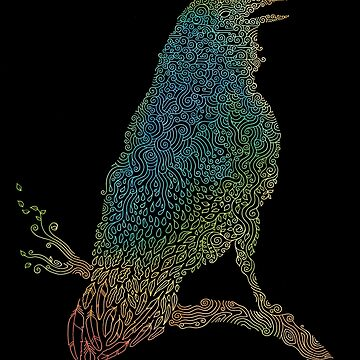 El cuervo iridiscente de thepapercrane