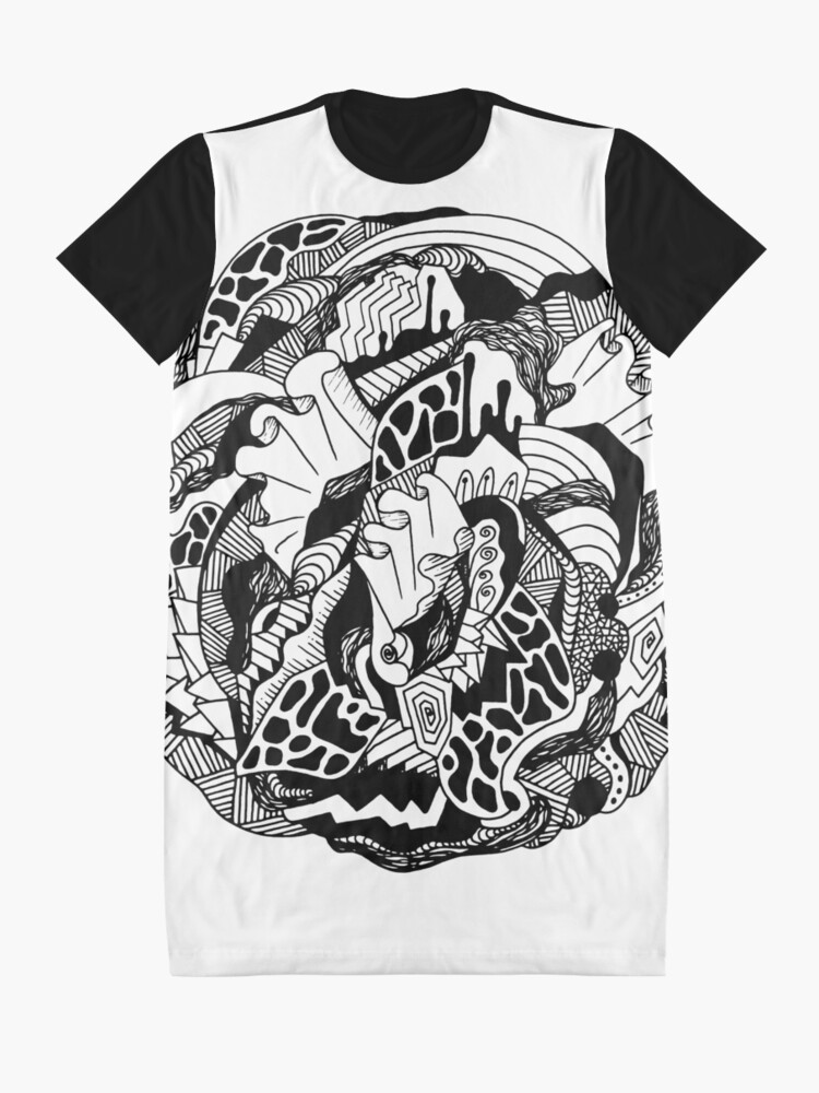 Alternate view of Abstract Wave of Thoughts 1 Graphic T-Shirt Dress