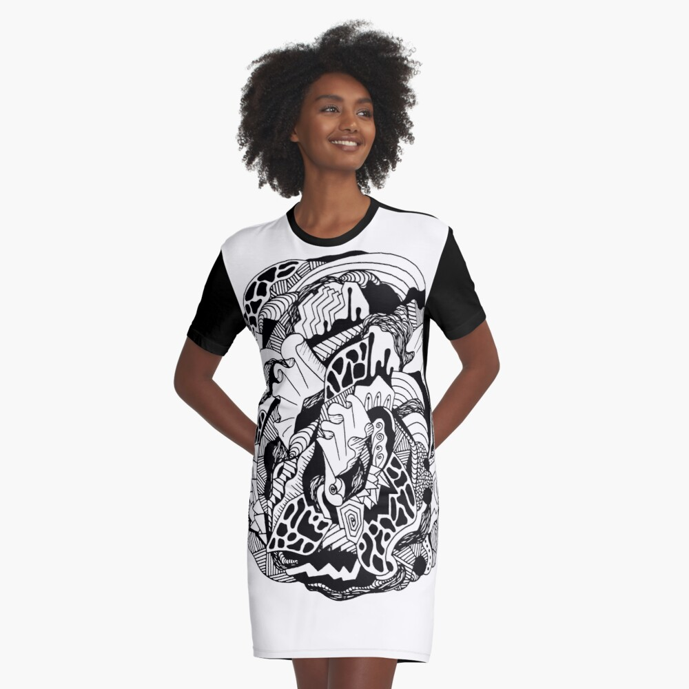 Abstract Wave of Thoughts 1 Graphic T-Shirt Dress
