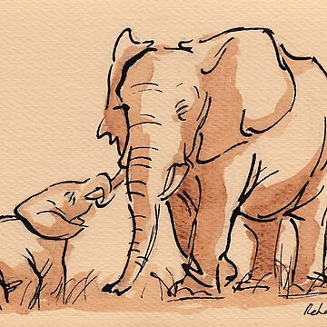 Mama & Baby Elephant Watercolor Painting #2 by tranquilwaters