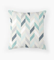 Modern Chevron in Blue and Silver Throw Pillow