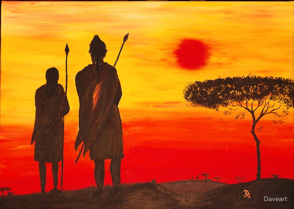 Two Massaii warriors by Daveart