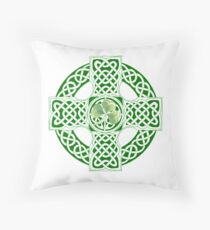 Celtic Shamrock Cross Throw Pillow