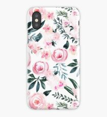 Beautiful Trendy Pink Watercolor Flowers on White iPhone Case