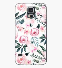 Beautiful Trendy Pink Watercolor Flowers on White Case/Skin for Samsung Galaxy