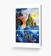 HAWAII : Vintage Mermaid Travel Advertising Print Greeting Card