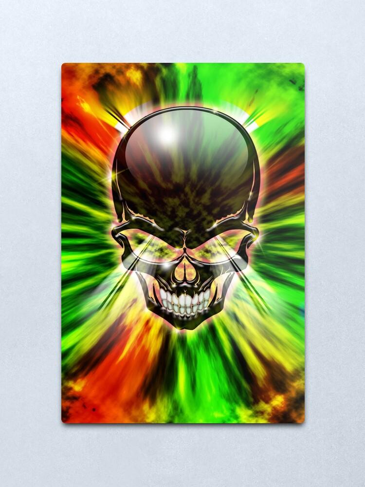 Alternative Tropical Floral Skulls And Crossbones Metal Print Long Top Halloween