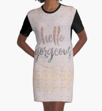 Hello Gorgeous Lilac Periwinkle Rose Gold Confetti Graphic T-Shirt Dress