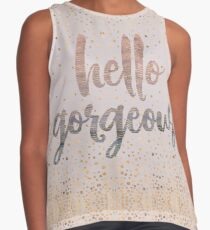 Hello Gorgeous Lilac Periwinkle Rose Gold Confetti Contrast Tank