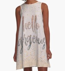 Hello Gorgeous Lilac Periwinkle Rose Gold Confetti A-Line Dress