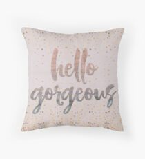 Hello Gorgeous Lilac Periwinkle Rose Gold Confetti Throw Pillow