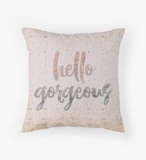 Hello Gorgeous Lilac Periwinkle Rose Gold Confetti Floor Pillow