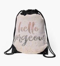 Hello Gorgeous Lilac Periwinkle Rose Gold Confetti Drawstring Bag