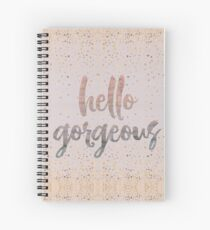 Hello Gorgeous Lilac Periwinkle Rose Gold Confetti Spiral Notebook