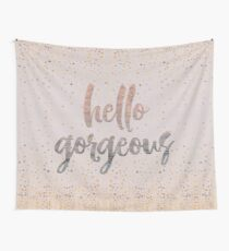 Hello Gorgeous Lilac Periwinkle Rose Gold Confetti Wall Tapestry