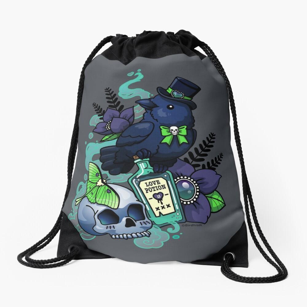 Chubby Mr. Raven Drawstring Bag