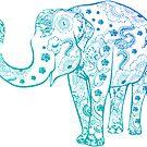 «Mandala de elefante azul» de adjsr