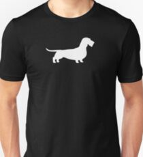 Wire Haired Dachshund White Silhouette(s) T-Shirt