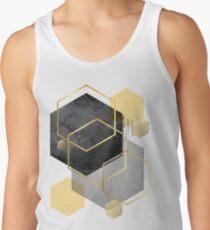 Schwarz und Gold Geometrisch Tank Top